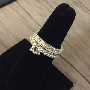 Cubic Zirconia Wedding Band Engagement Ring